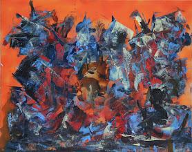 """Photo: """"La jetée"""", Bombe et glycéro sur toile. 40x50cm,horizontal."""