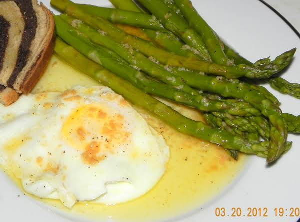 Black Butter Sauce Over Steamed Asparagus Recipe