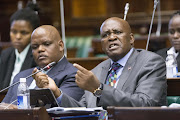 L/R acting police commissioner Gen Khomotso Phahlane and Hawks boss Gen Berning Ntlemeza in parliament for the HAWKS budget presentation to parliament, Cape Town. Pic: Trevor Samson. © Business Day