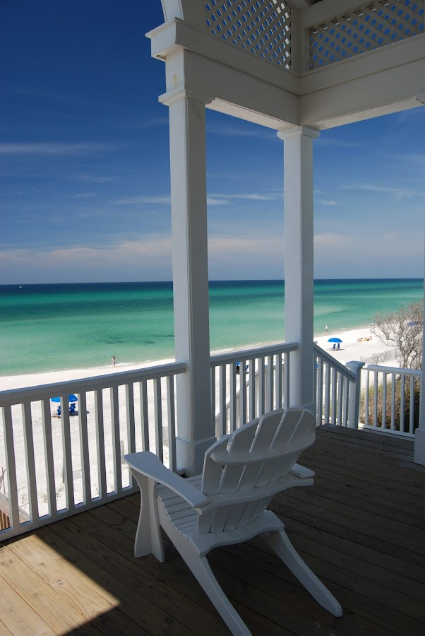 Invitation to Relaxation by Dub Scroggin - Artistic Objects Furniture ( railing, adirondack chair, emerald coast, pavilion, seaside, gulf of mexico, relax, tranquil, relaxing, tranquility,  )