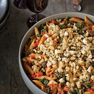 Penne Pasta with Tomato-Roasted Red Pepper Sauce, Kale, & Toasted Bread Crumbs.