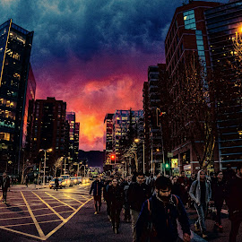 Sunset in the city by Ricardo Carrasco - City,  Street & Park  Night ( city, person, buildings, sunsets, streetphotography )