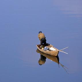 Reflections by Victor Mukherjee - Transportation Boats ( water, reflection, nature, india, landscape, boat, man )