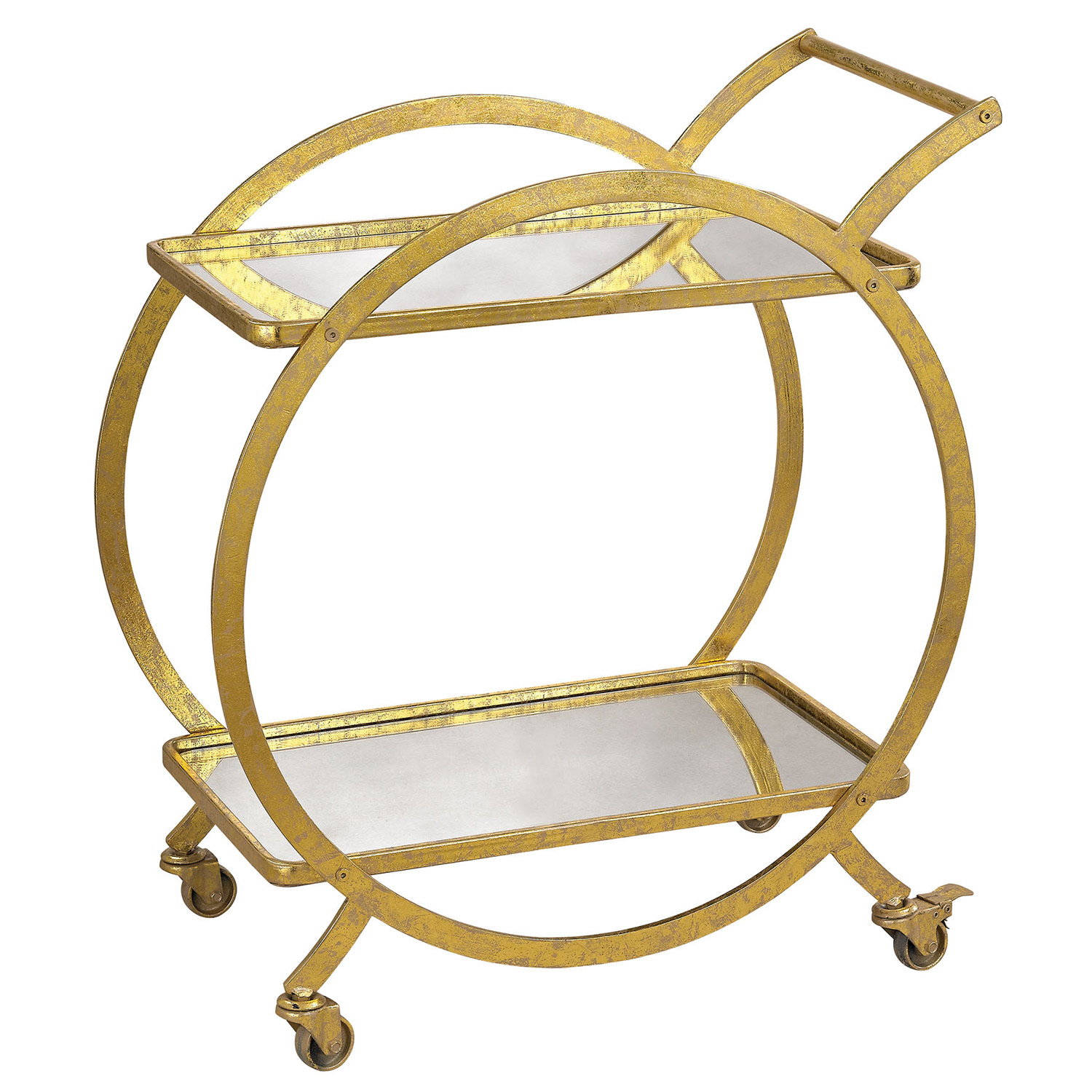 gold circle mid century modern bar cart with glass shelves