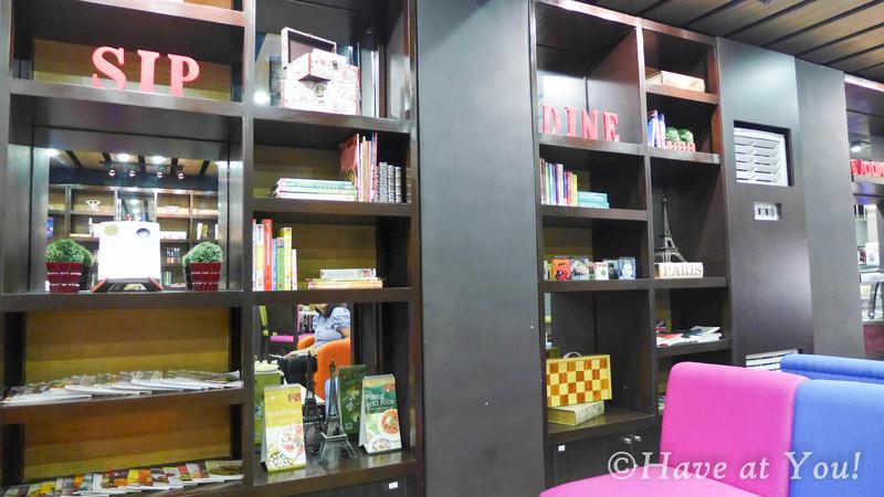 shelves inside Books and Borders Cafe