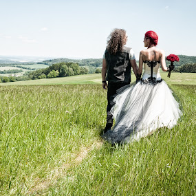 Sweet future by Martin Zenisek - Wedding Bride & Groom ( outdoor photography, color, pair, woman, outdoor, bride and groom, landscape, bride, groom, man,  )
