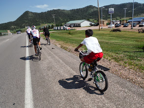 Photo: Day 23 Lusk WY to Hot Springs SD 93 miles, 2300' climbing: Jim Swore and his son Pierce meet us outside Hot Springs and ride with us taking us to DQ.