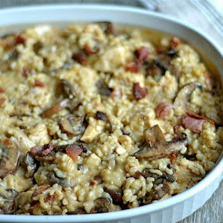 Cheesy Brown Rice Chicken Casserole with Mushrooms and Bacon.