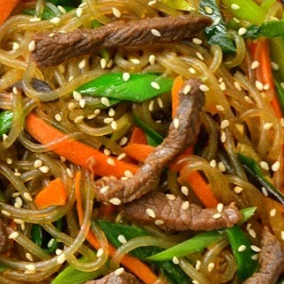 Japchae With Beef Bulgogi (Korean stir fried beef noodles with vegetables).