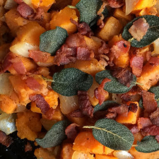 Roasted Sweet Potato & Butternut Squash {with Crispy Sage & Bacon}