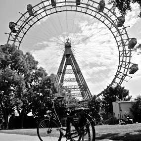 Weiner Reisenrad by Ashley Humphrey - City,  Street & Park  City Parks ( vienna, bike, black and white, ferris wheel )