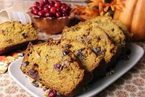 "Thea's Cranberry Pumpkin Bread""I had some canned pumpkin in the freezer. I..."