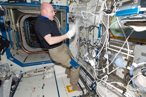 Astronaut Andre Kuipers prepares to insert biological samples in the Minus Eighty Laboratory Freezer in the laboratory of the International Space Station.