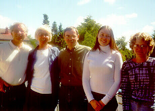 Photo: Fred and 2nd cousin Kari (Johannessen) Koch, me, their grand daughter, Kjersti, and Phoebe my daughter.