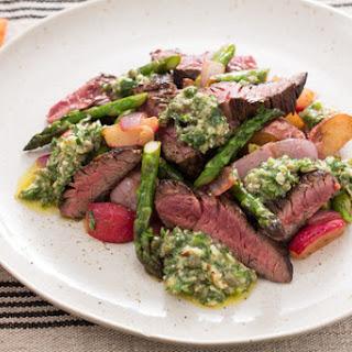 Sirloin Tip Steaks with New Potatoes, Asparagus & Baby Artichoke Hash.