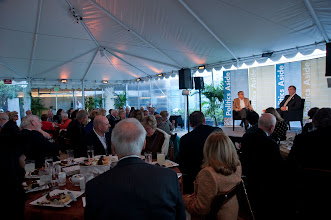 Photo: Participants at the RAND Politics Aside event listen to RAND President and CEO Michael D. Rich (left) and General Peter Chiarelli (right) talk during lunch Friday, Nov. 16, 2012 at the Santa Monica headquarters campus of RAND.