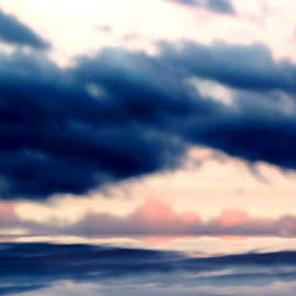 Lake Ontario Sunset Watercolor Mirage 1 by RMC Rochester - Digital Art Places ( sky, random, nature, clouds, abstract, water, manipulation, colors,  )