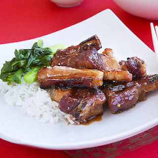 Sticky Spareribs with Asian Greens.
