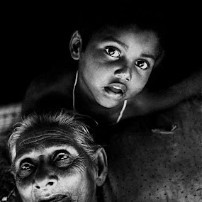 by Debashis Mukherjee - People Family ( black and white, b&w, portrait, people, city, photography )