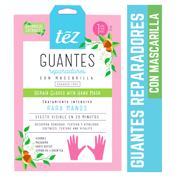 Guantes Tez Anti edad   Con Mascarilla Para Manos Anti Stress X80Ml.