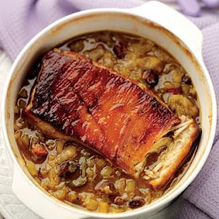 Phil Vickery's Pot Roast Pork Belly with Bramley Apples and Celery