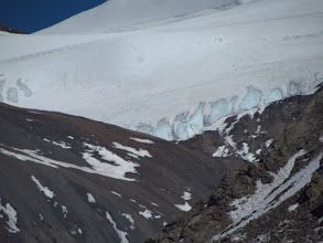 Photo: Gletcher start from pass at 5700m, on left side