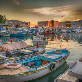 Evening time on the fishermens cove by Murat Besbudak - Transportation Boats ( aydın, kuşadası, boats, evening )