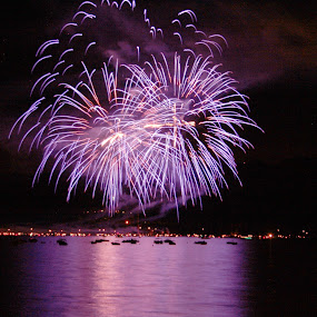 Tahoe Fire Works by Mike Lee - Public Holidays July 4th ( explosion, reflections, skyrocket, lake tahoe, independence day, purple, burst, 4th of july, event, fireworks,  )