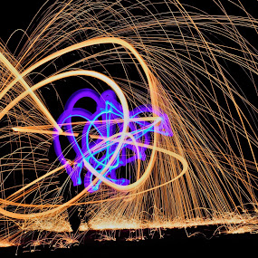 The Serpent Strikes by Scott Valenzuela - Abstract Fire & Fireworks ( abstract, colors, long exposure, night, sparks )