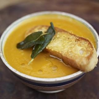 Superb squash soup with the best Parmesan croutons.