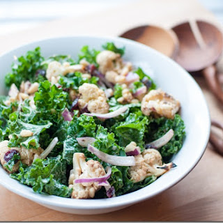 Kale and Roasted Cauliflower Salad with Tahini Dressing.