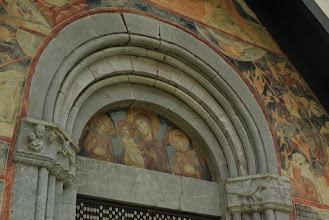 Photo: Frescoes adorning outer walls of Moraca monastery, Orthodox church