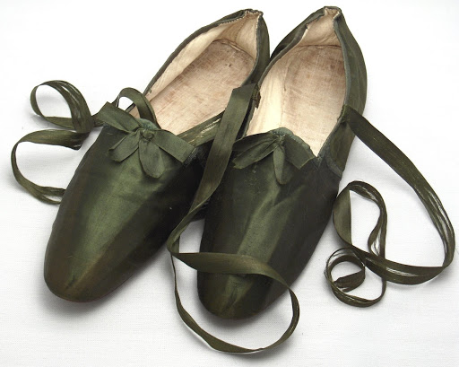 Green silk shoes with green ribbon laces
