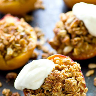 Baked Peaches with Oatmeal Pecan Streusel