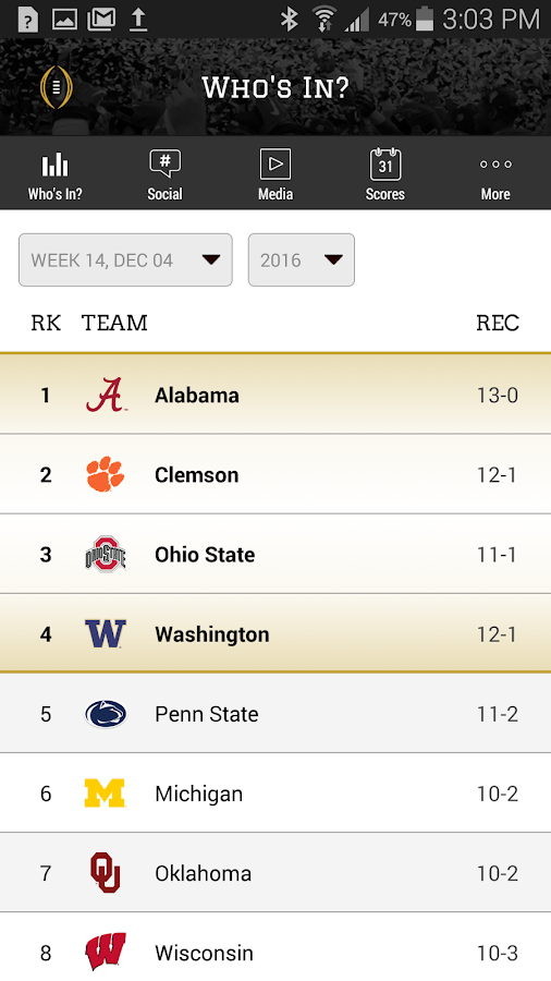 College Football Playoff- screenshot