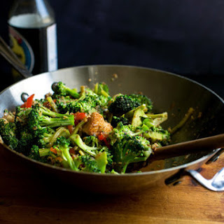 Stir-fried Broccoli Stalks and Flowers, Red Peppers, Peanuts and Tofu