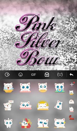 Pink Silver Bow Keyboard Theme screenshot