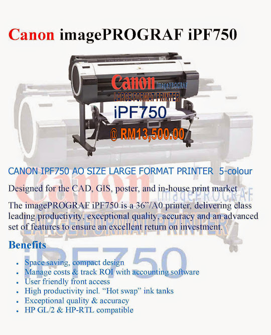 Canon imagePROGRAF iPF750 LARGE FORMAT PRINTER