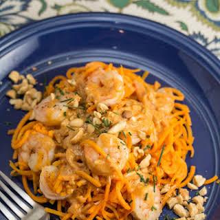 Shrimp with Coconut Curry Sweet Potato Noodles.