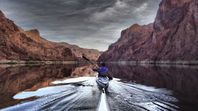 Photo: Paddling upsteam in the Black Canyon