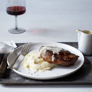 Milk-Braised Pork Chops with Mashed Potatoes and Gravy.