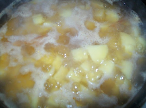 Cook the potatoes with the ginger ale till they are done; if the one...