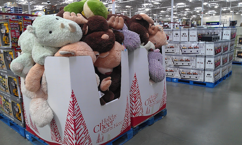 Photo: Speaking of my boy...he loves stuffed animals and these are bigger than him!! I know Sam's Club is awesome for gifts this time of year so I will have to keep myself focused because my budget does not leave room for extras...and this trip is all about my girlfriends and ME!!
