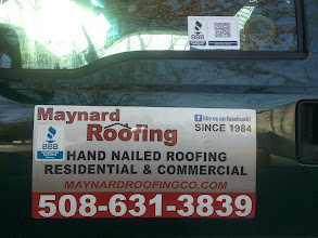 Photo: Maynard Roofing in Taunton, MA proudly displaying their BBB Accreditation