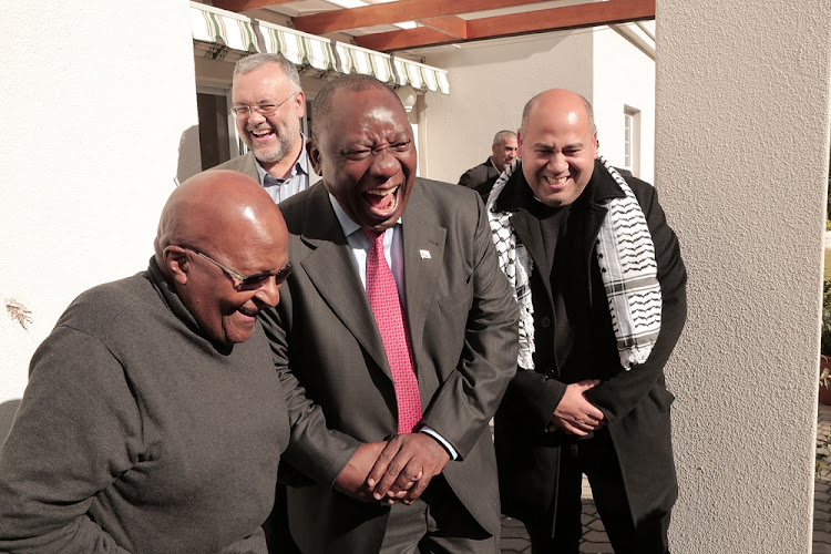 President Cyril Ramaphosa popped in to visit Archbishop Emeritus Desmond Tutu and Leah Tutu at their home in Hermanus on Thursday.