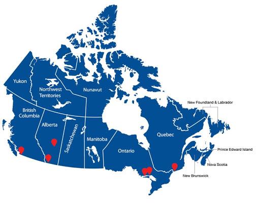 Χάρτης τοποθεσιών διεκπεραίωσης εντός Καναδά