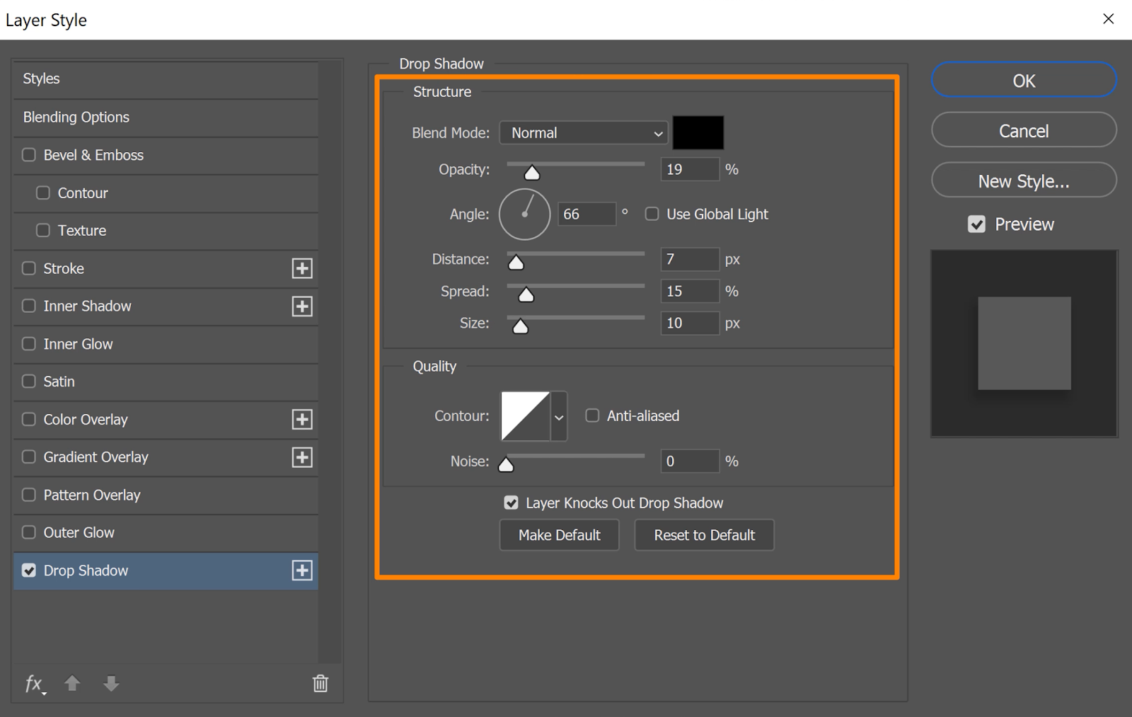 Use the Structure and Quality controls to edit the adjustments on your drop shadow