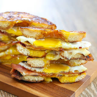 Donut Grilled Cheese Breakfast Sandwiches.