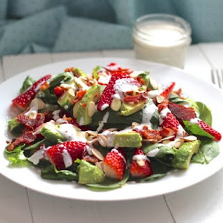 Bacon, Avocado & Strawberry Salad with Greek Yogurt Poppyseed Dressing.