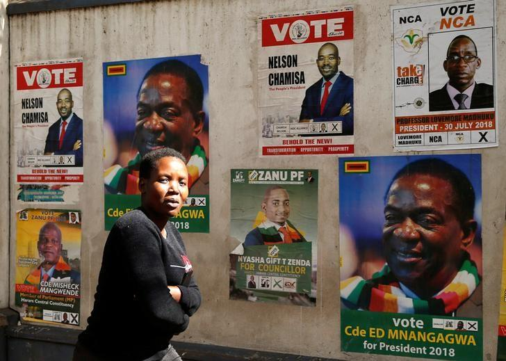 A woman walks past election posters in Harare, Zimbabwe, on July 19, 2018. File photo: REUTERS/PHILIMON BULAWAYO
